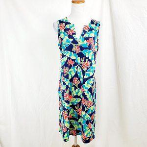 Lands End Sleeveless Dress Floral Pockets S 6-8